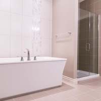 Medium 529987102374434 monet   gallery at larch park   master ensuite bathroom with freestanding tub tile wall floor to ceiling tiled shower