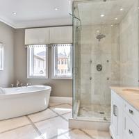 Medium ensuite bathroom in new home