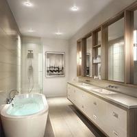 Medium modern new townhome bathroom