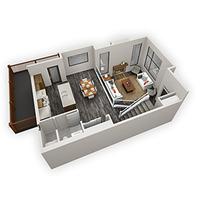 Medium bow collection duplex 3d main flr plan