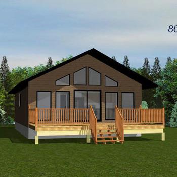Large square the garnett 864sq ft bugnalow cabin plan 796x364